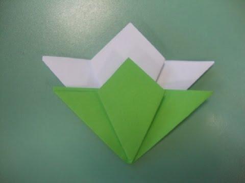 Конструирование из бумаги  Пошаговое  оригами подснежник