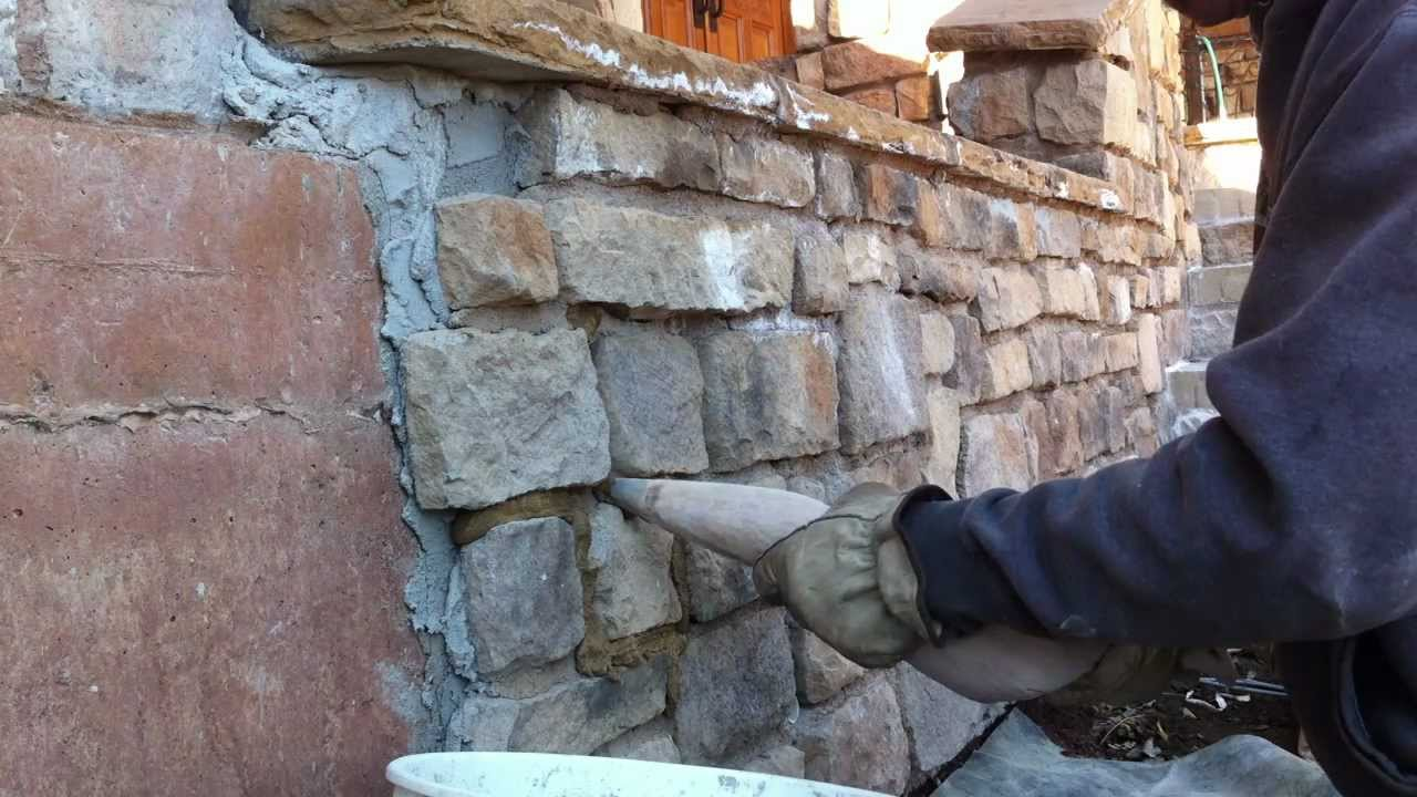How to use a grout bag Grouting veneer stone Part 1 - YouTube