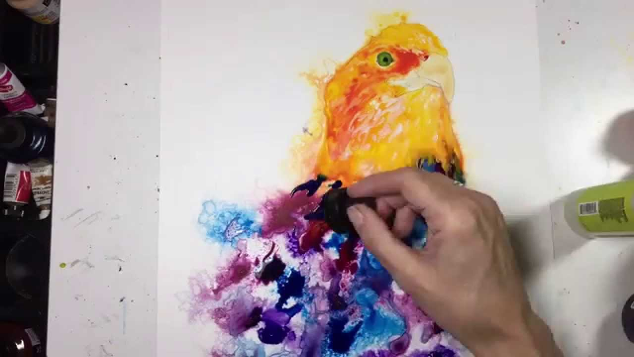 Speed painting using acrylic ink and india ink on yupo paper
