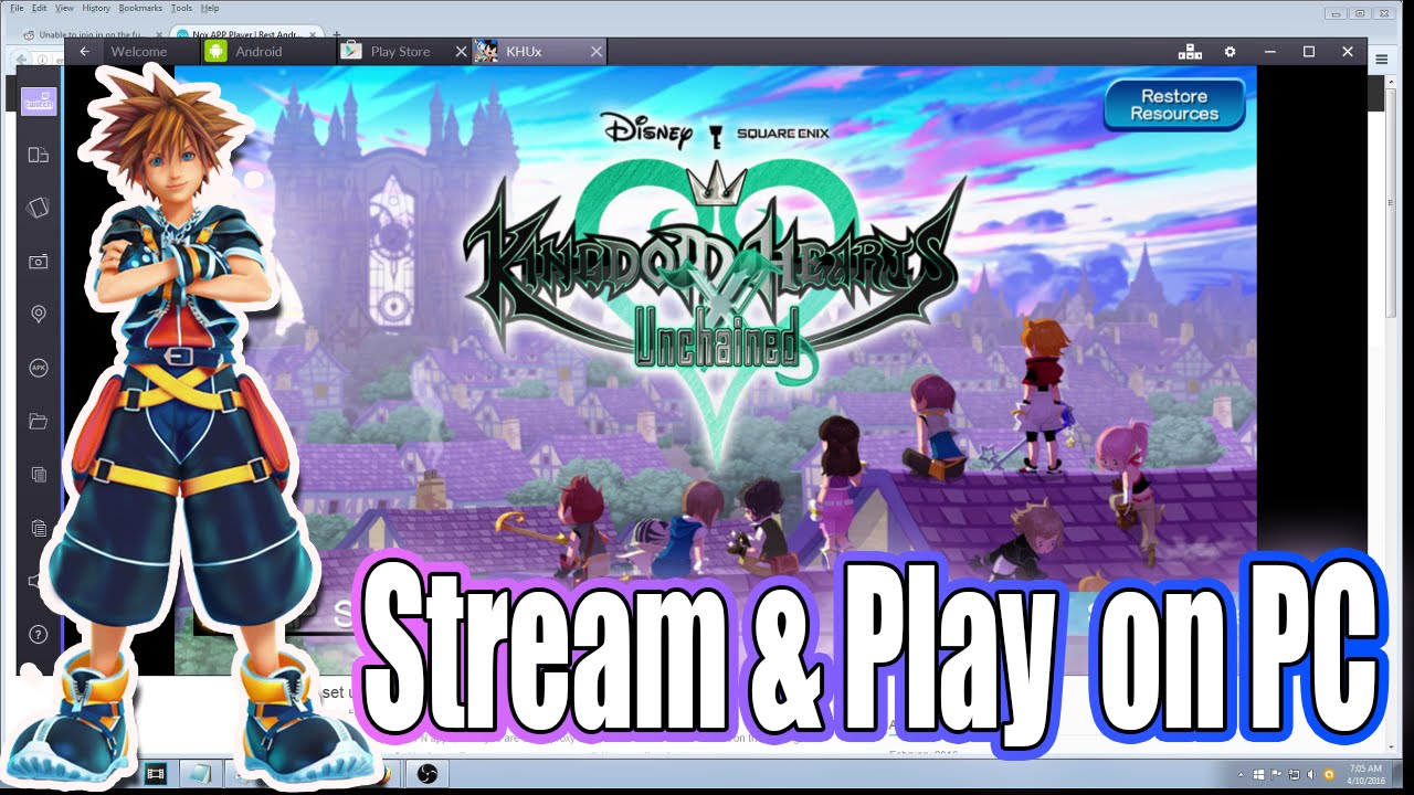 how to play kingdom hearts unchained x on pc