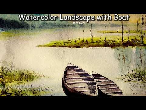 watercolor painting landscape | how to paint a simple landscape with boat