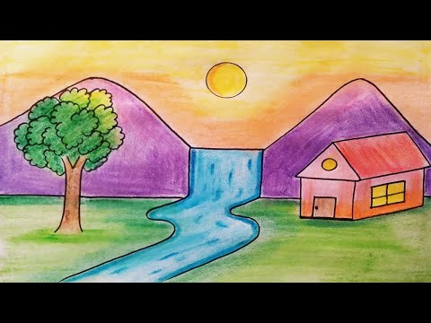 Easy Landscape Drawing For Kids And Beginners Learn House And Nature Simple Painting Youtube