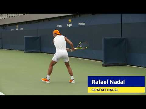 Rafael Nadal Warms Up Before His SF Match at the 2018 US Open