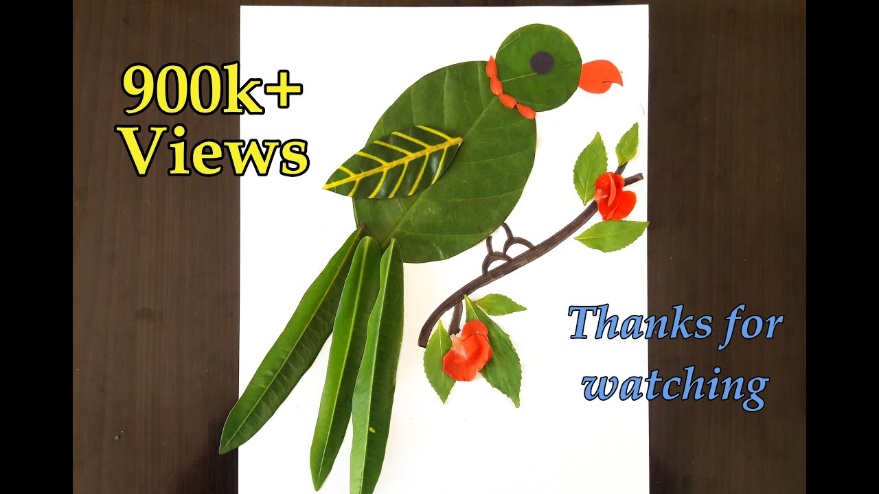 Parrot From Leaves Simple Leaf Art For Kids Youtube