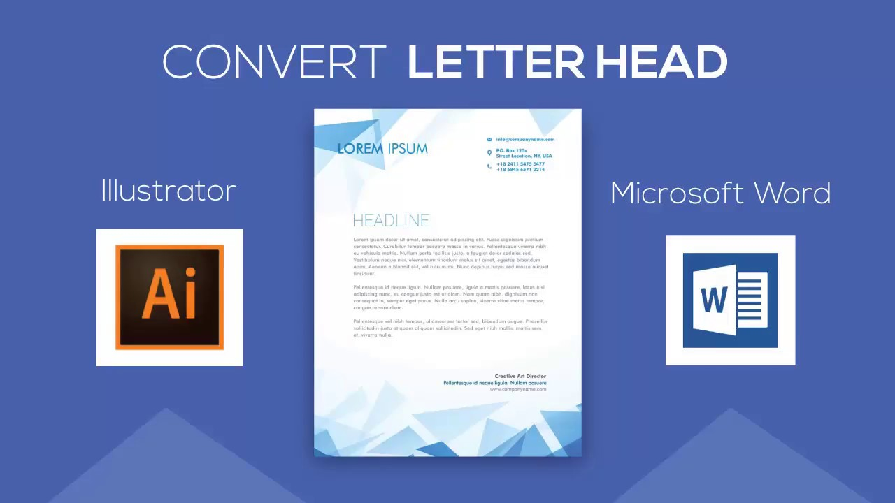 convert letterhead design from adobe illustrator to