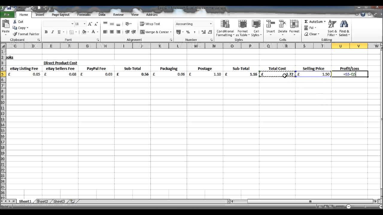 Costing Spreadsheet   Calculate Profit Per Product Or Service   Create EBay  Spreadsheet Excel  Profit And Loss Spreadsheet Template