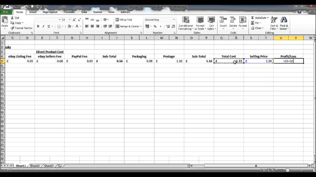 profit margin spreadsheet template