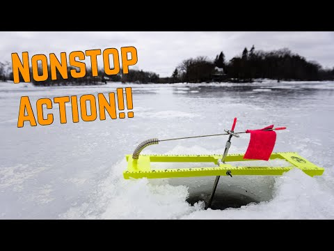 Nonstop Tip Up MADNESS!! Ice Fishing 2019