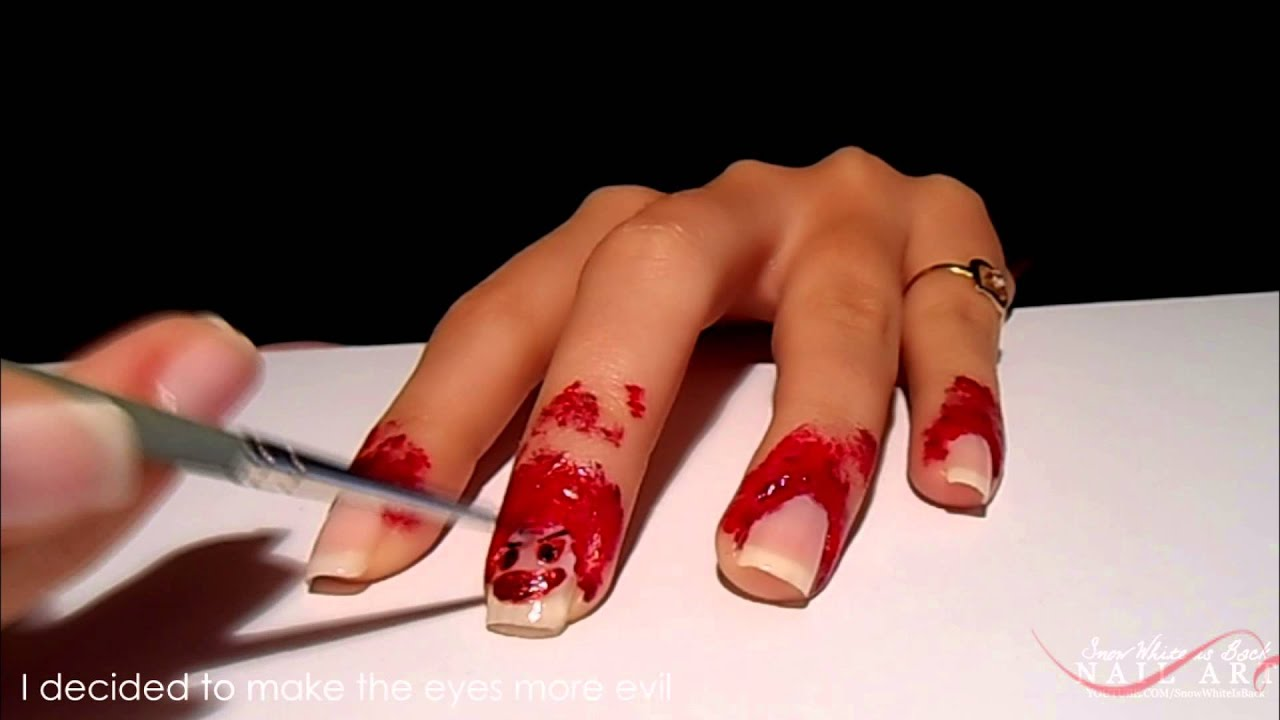 Halloween's Bloody Smiley Nails Nail Art - YouTube
