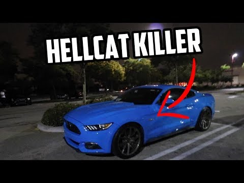 Sleeper Mustang GT SHOCK's Tuned HELLCAT Challenger in a roll race