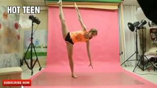 A beautiful, and sexy girl shows stretching exercises, and flexibility.