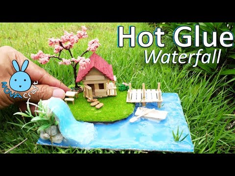 Hot Glue Waterfall Tutorial Miniature House | Awesome Hot Glue DIY Life Hacks for Crafting Art #004