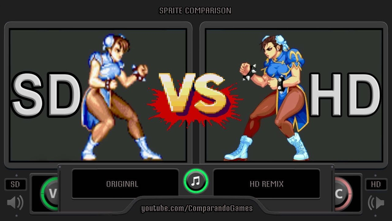 Sprite Comparison Of Street Fighter Ii Original Sd Vs Hd Remix