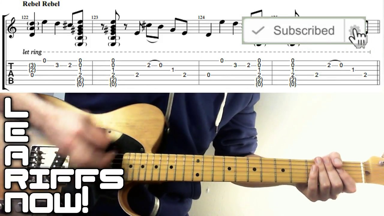 REBEL REBEL Guitar Lesson Intro Riff With Tab   David Bowie