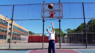 9 Year Old Boy Gets His First Impossible No-Look Basketball Trick Shot