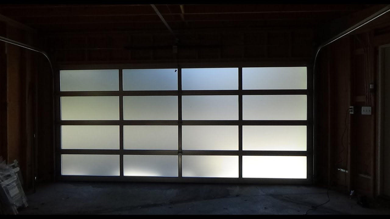 All glass garage door full view modern elegant youtube for Sliding glass garage doors