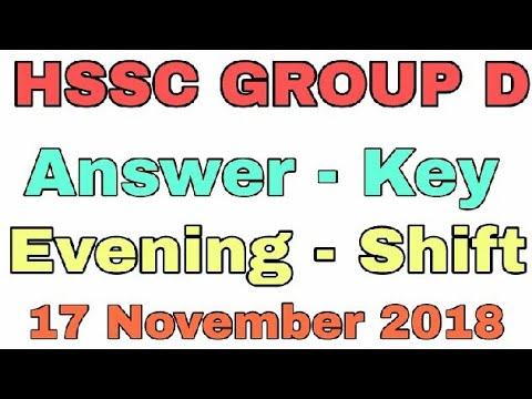 Answer Key Evening Shift HSSC GROUP D Paper 17 Nov. 2018