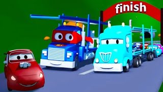 变形卡车卡尔和运输车在汽车城 ???? 儿童卡通片