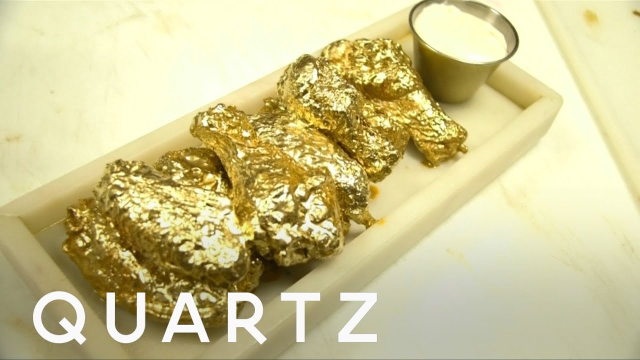 Eating food covered in gold