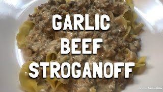 Slow Cooker Garlic Beef Stroganoff | Easy Crock Pot Recipe