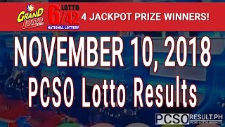 PCSO Lotto Results Today November 10, 2018 (6/55, 6/42, 6D, Swertres, STL & EZ2)