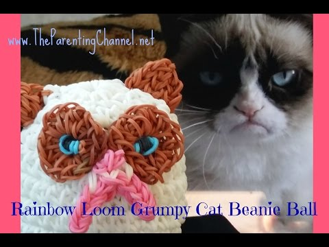 RAINBOW LOOM GRUMPY CAT BEANIE BALL STUFFED ANIMAL -Amigurumi Loomgurumi crochet