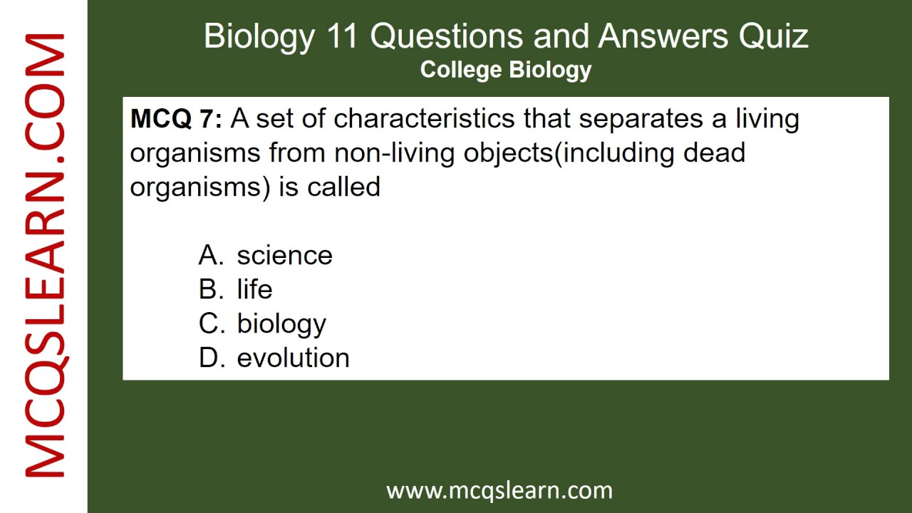 Biology 11 Questions and Answers - MCQsLearn Free Videos ...