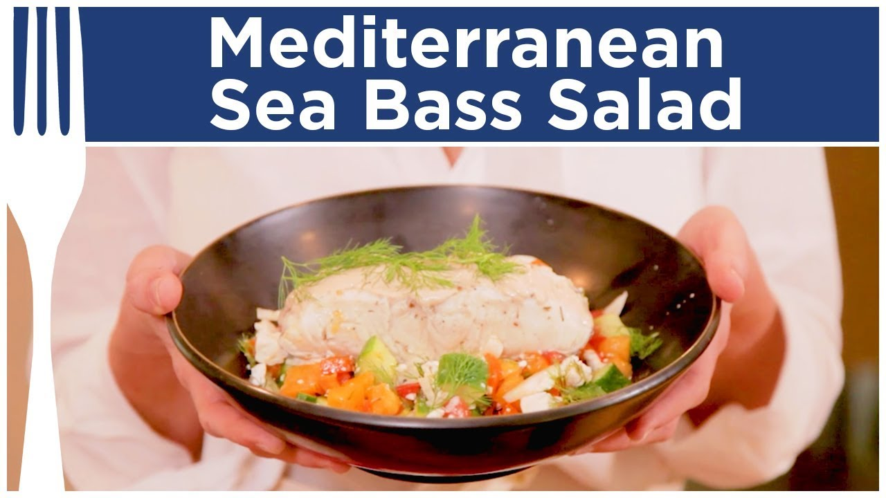 Mediterranean sea bass with greek salad dinner for Turkish sea bass recipe