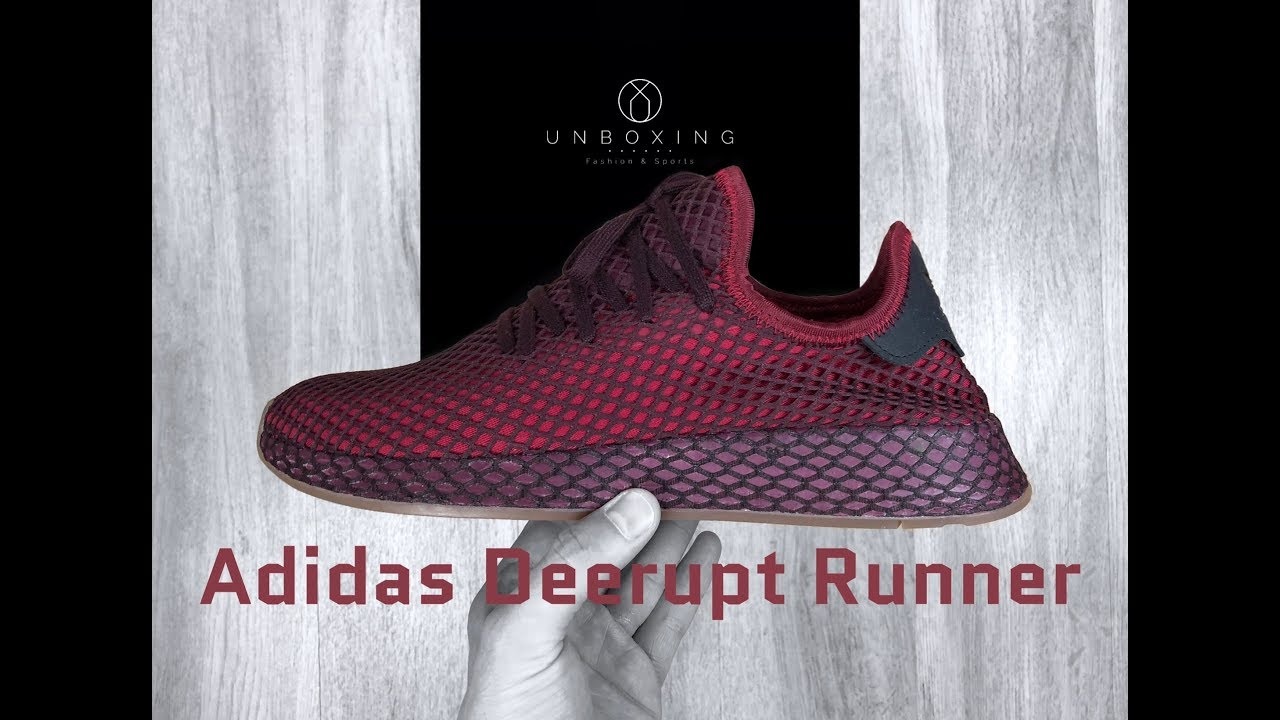 sports shoes 7794f 8d86a Adidas Deerupt Runner Burgunda red  UNBOXING  ON FEET  fashion shoes   2018