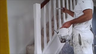 Painting spindles on a staircase
