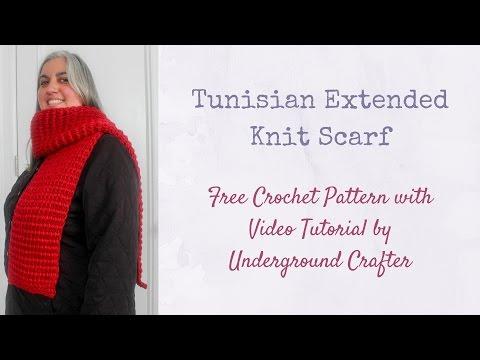 Tunisian Extended Knit Scarf Tutorial - Free Crochet Pattern