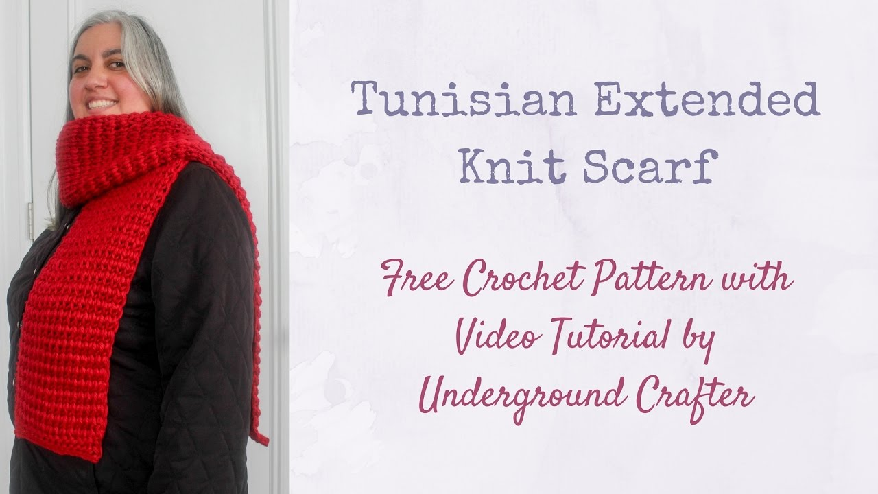 Tunisian Extended Knit Scarf tutorial - free crochet pattern - YouTube