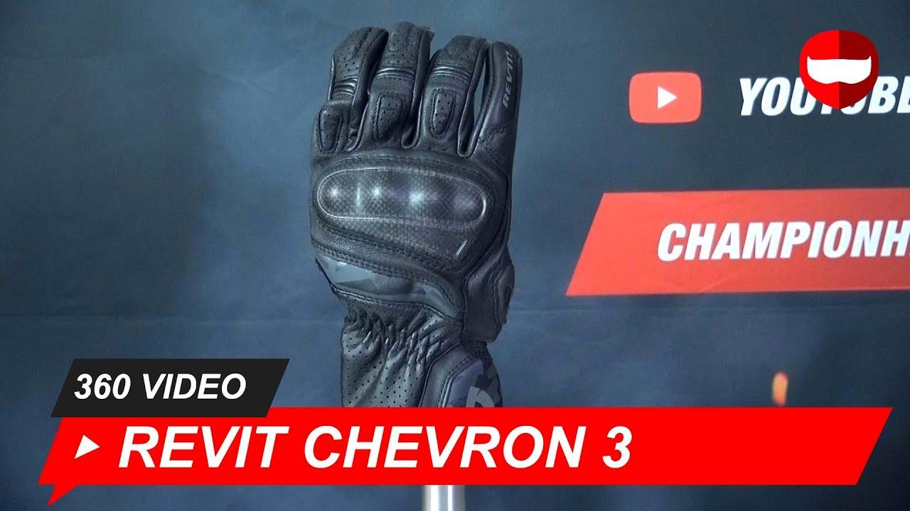 suerte Museo Guggenheim Al frente  Revit Chevron 3 Black Motorcycle Glove - ChampionHelmets.com - YouTube