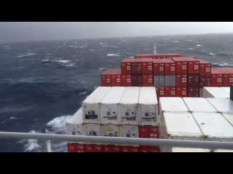 Container Ship In Storm At Great Australian Bight