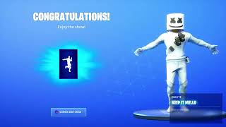 The skin marchrmelo with pickaxe and emote on fortnite beat royal