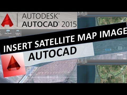 How to Insert Satellite Map Image - Geolocation Online Aerial Image with AutoCAD 2015