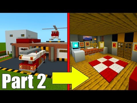 """Minecraft Tutorial: How To Make A Fire Station Part 2 """"2019 City Tutorial"""""""