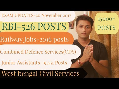 Exam News #16 :- Special Jobs For Railway , RBI , Combined Defense Services & language pandit .