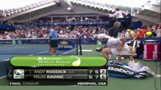 Andy Roddick Dives to Win Memphis Championship Point