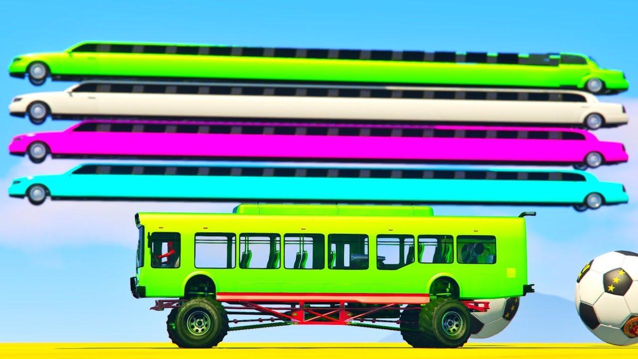 Цветные Лимузины и Автобусы Мультики про Машинки Тачки 2 Человек Паук и Супергерои Мультик Песенка