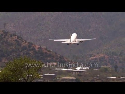 Sharp steep take-off from Paro airport in Bhutan: world's most treacherous!