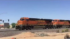 BNSF Phoenix Sub: Z-Train flies through Lizard Acres, Surprise , AZ, 7-17-2019
