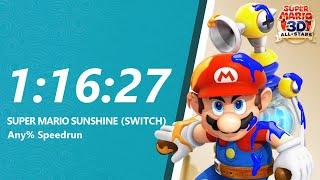 Super Mario Sunshine HD Any% Speedrun in 1:16:27