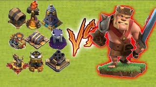 Max(lvl45) King Vs Every Single Defences​ - 1 vs 1 Instant Battle - clash of clans-unity clash