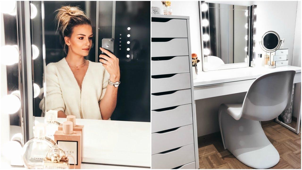 Mein Schminktisch Und Dessen Inhalt Ikea Hollywood Mirror