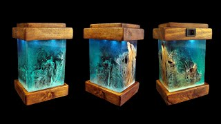 DIY. Night Lamp with Resin and Old Wood 💡 Miniature Winter Scenery ❄