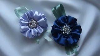 Как сделать цветок из ленты и бисера. Мастер класс.