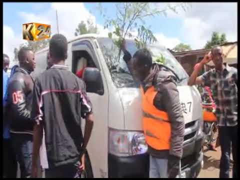Boda boda operators protest the murder of their colleague along Kenol- Kaharati road