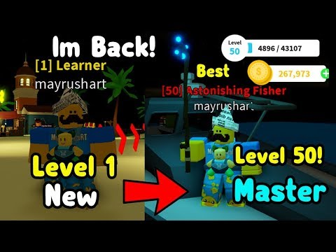 I'm Finally Back! Noob To Master And Reached Level 50 In Fishing Simulator!