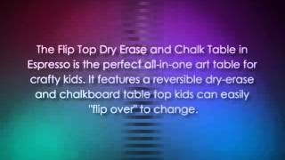Anatex Flip Top Dry Erase And Chalk Table With 1 Bench, Espresso